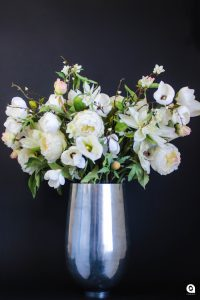 White mix in silver bulbous vase - 80cm