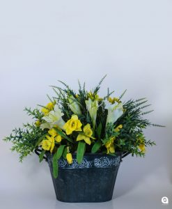 Yellow daffodils in grey tinny vase - 45cm