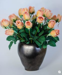 Orange lisa Rose in copper vase - 45cm