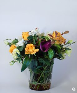 Orange country bunch in glass vase - 52cm