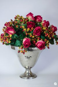 Red fresh roses + berries in silver vase - 54cm