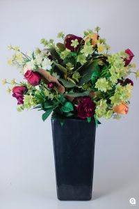 Red mix (spring magic) in black upright vase - 55cm