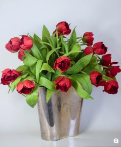 Red Tulips in silver vase - 45cm