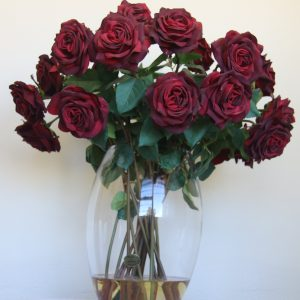 Red Dutchess roses in large glass vase - 60cm