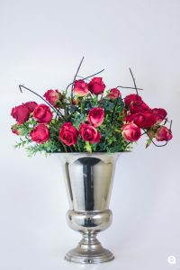 Red Fresh rose red in silver trophy tin - 65cm