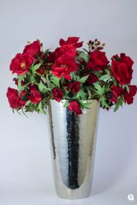 Red Poppys in large silver vase - 68cm