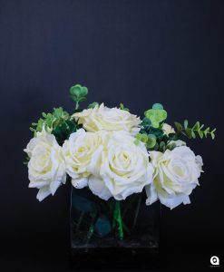 White Roses (Queen Anne) in square glass vase - 35cm