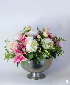 Pink Peoneys + lilies in large round silver vase - 44cm