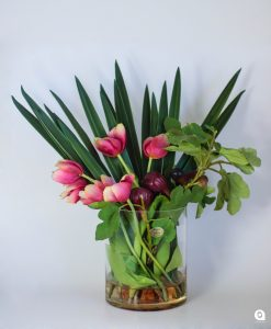 Pink Tulip + fig in round glass vase - 57cm