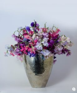 Pink Sweetpeas mixed in silver vase - 42cm