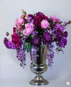 Purple mums in silver trophy tin - 80cm