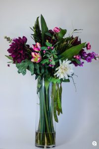 Purple Dahlia in tall glass vase - 93cm