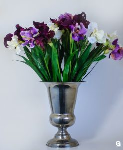 Purple German Iris in silver trophy tin - 84cm