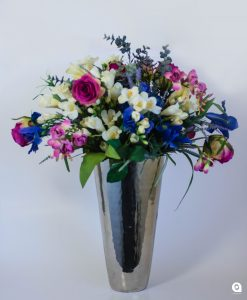 Blue mix in silver vase vase(Enchanted) - 70cm